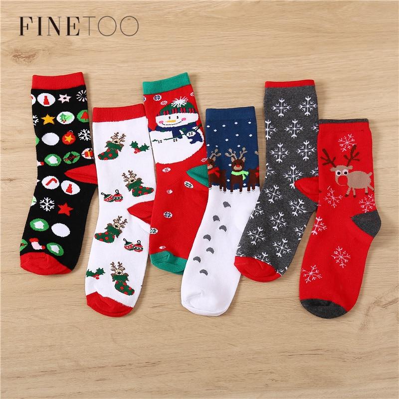 Christmas Socks Autumn Winter Women & Men Long Sock New Year Santa Claus Thicken Cotton Sock Christmas Tree Snow Elk Xmas Gift