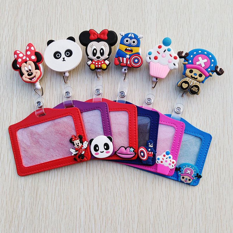 1 Pcs/lot New Ideas Silicone Cartoon Animals Retractable Badge Reel Student Nurse Exihibiton ID Name Card Cute Badge Clip