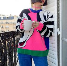loose pullover sweater Round neck contrast color striped cartoon pattern loose playful sweater sweater недорого