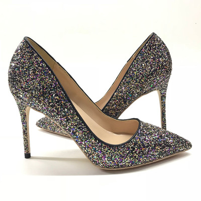 pointed toe Black Glitter wedding shoes <font><b>12</b></font> <font><b>cm</b></font> <font><b>high</b></font> <font><b>heel</b></font> pumps sexy stiletto <font><b>heels</b></font> shallow party wedding shoes for women 34-45 image