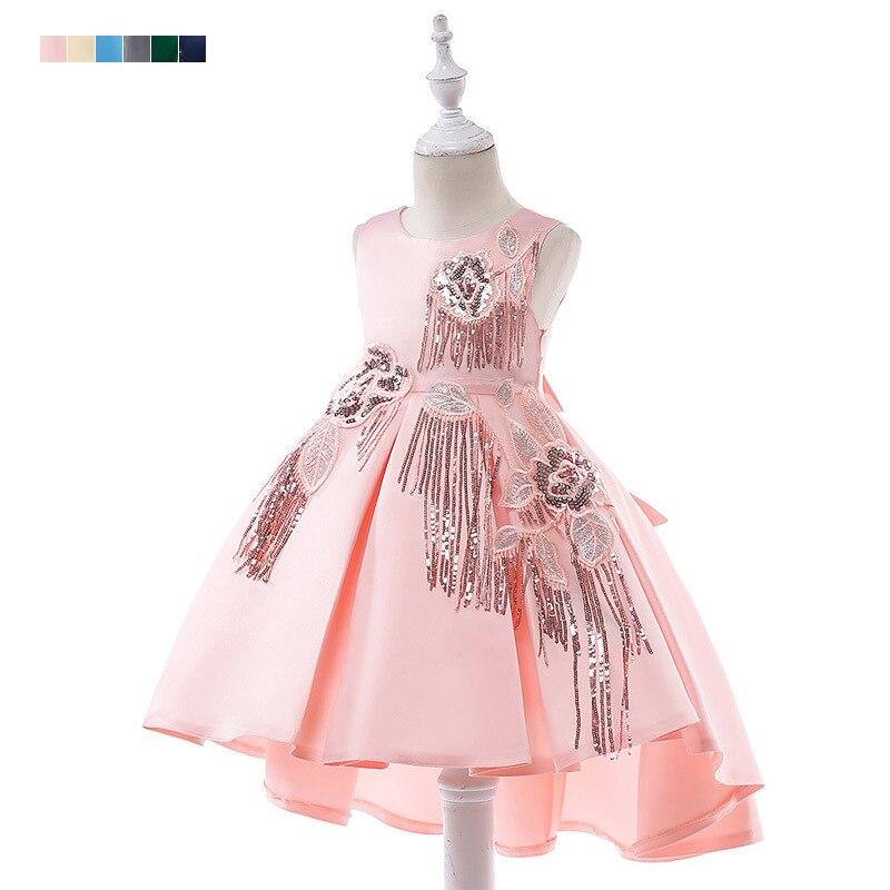 2019 New Style CHILDREN'S Dress Girls Satin Sequin Tassels Swallow Tail Formal Dress Small Tailing Flower Boys/Flower Girls Wedd