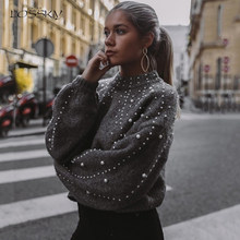 Lossky Sweater Gray Bubble Pullover With Pearls Women Autumn Winter Warm Knit Pull Jumpers Female Top Clothes 2019 Street Style(China)