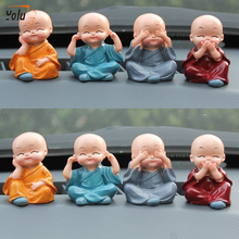 YOLU Car Ornament Little Monks Buddha KungFu Small Ornaments Creative Maitreya Resin Gifts Automobile Decoration