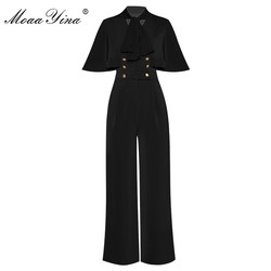 MoaaYina Summer Designer Jumpsuits Women's Cape sleeve Double breasted Elegant Jumpsuits