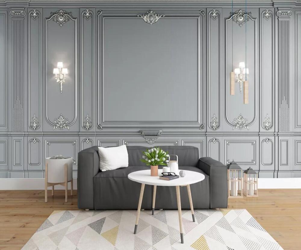 Custom 3D Mural Wallpaper European Elegant Decorative Background Wall Gray Imitation Furniture Mural Decorative Painting
