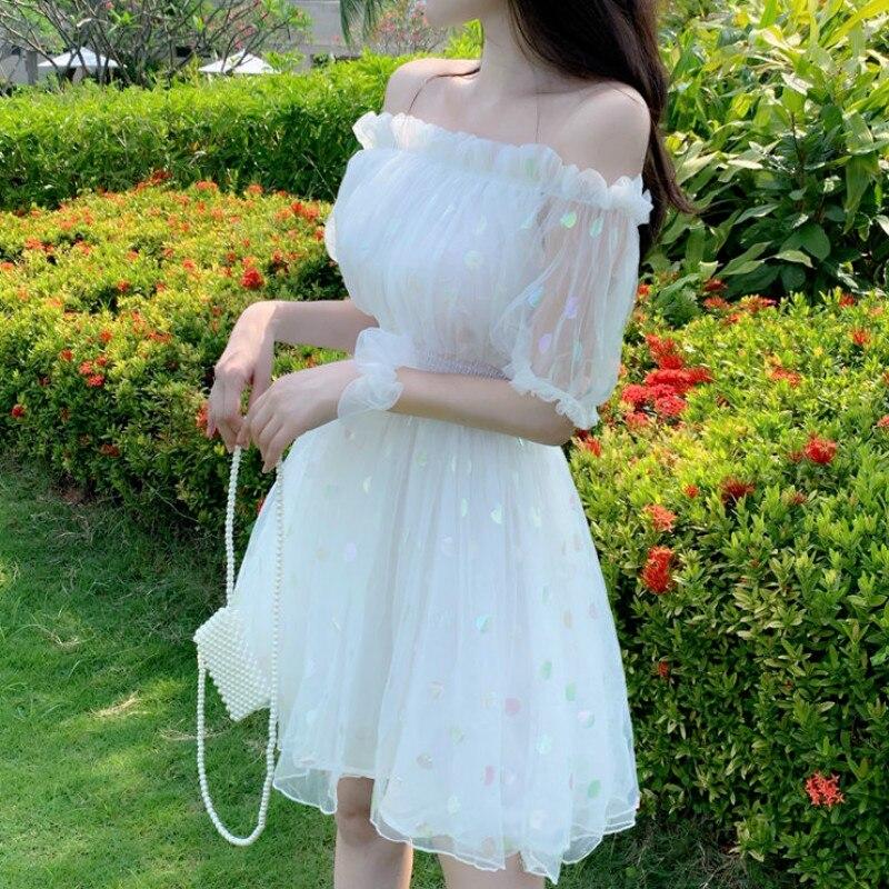 French Fairy Dress Women Elegant Off Shoulder Sequin Party Dress Women Casual Retro Korean Japan Style Kawaii Summer Dress 2020