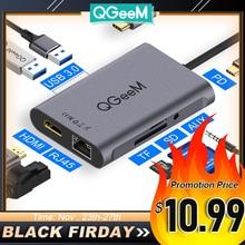 QGeeM 8 In 1 USB C 허브 Macbook Pro 용 USB 허브 3.0 어댑터 PD HDMI RJ45 TF SD 3.5mm Aux Type C 허브 for iPad Pro Splitter Dock