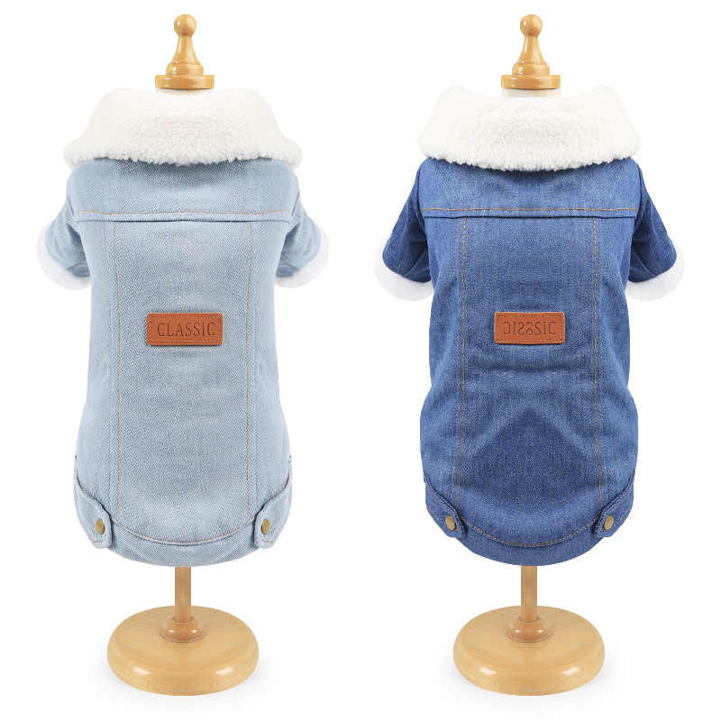 Pet Cat Clothes Premium Thicken Double Layer Winter Kitten Cat Coat Warm Denim Jacket for Small Dogs Classic Puppy Denim Jacket