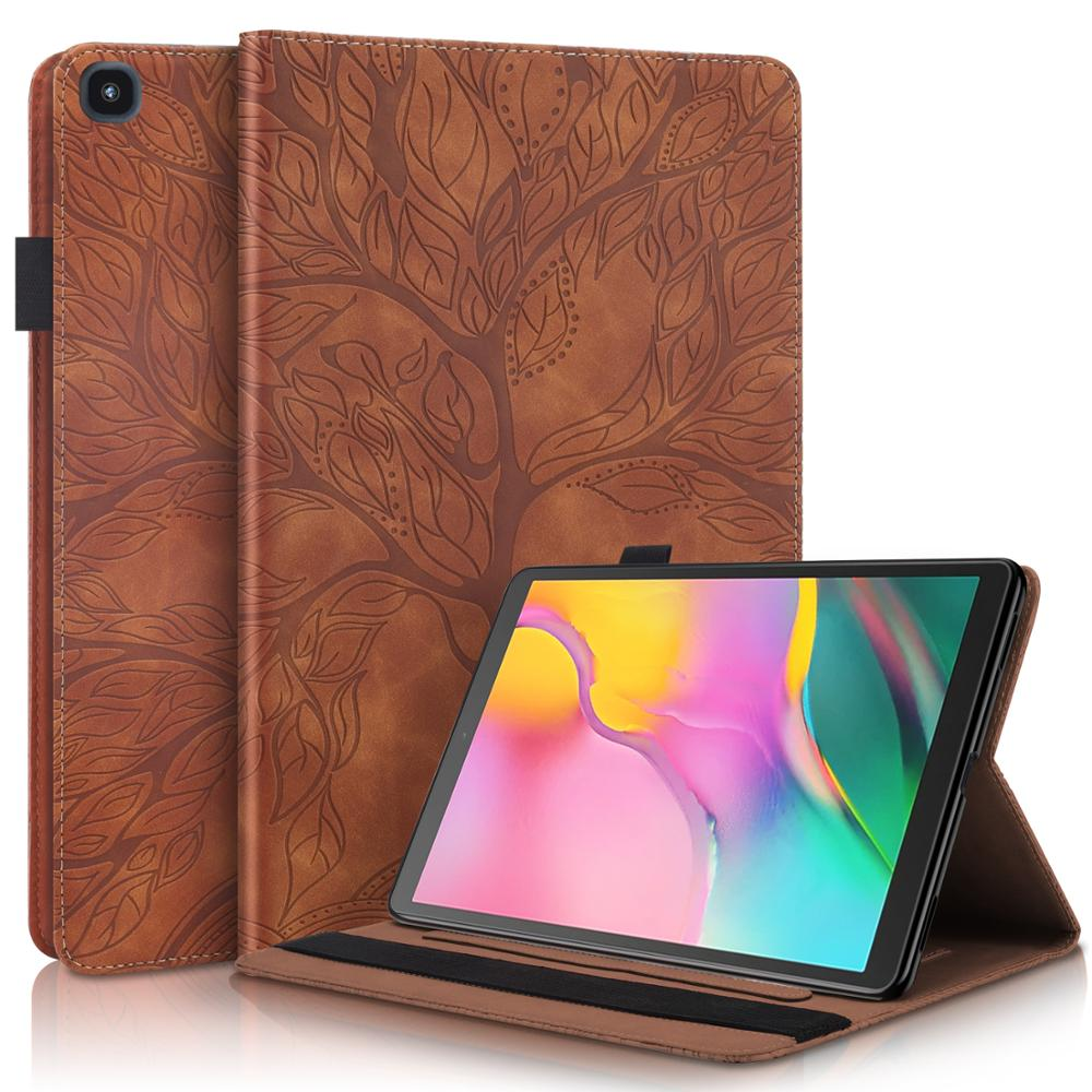 3D Emboss Tree PU Leather Case For Samsung Galaxy Tab A 8.0 Case 2019 SM-T290 SM-T295 Cover With Card Slots Tablet Case +Gift