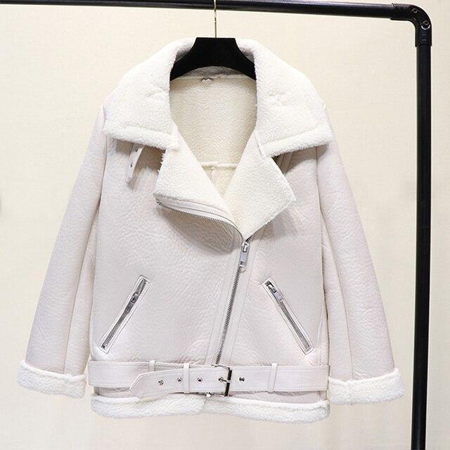 Ailegogo veste d'hiver en Faux cuir, femme, fourrure épaisse, fausse peau de mouton, aviateur vêtements d'extérieur 5