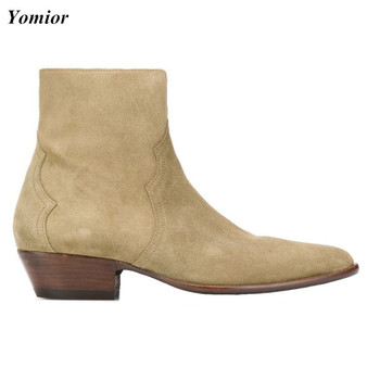 Yomior Genuine Leather British Pointed Toe New Men Shoes Designer Spring Work Business Wedding Ankle Boots Dress Chelsea Boots goodyear manmade shoes wear business bovine custom made shoes genuine three joints carved tip round toe formal pointed toe ankle