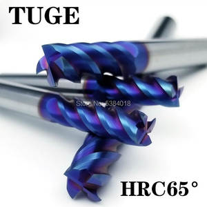 TUGE Cutting HRC65 4 Flute Tungsten Steel Milling Cutter Metal Alloy Milling Tools End Mill For Metal Cutter Carbide Milling stainless steel