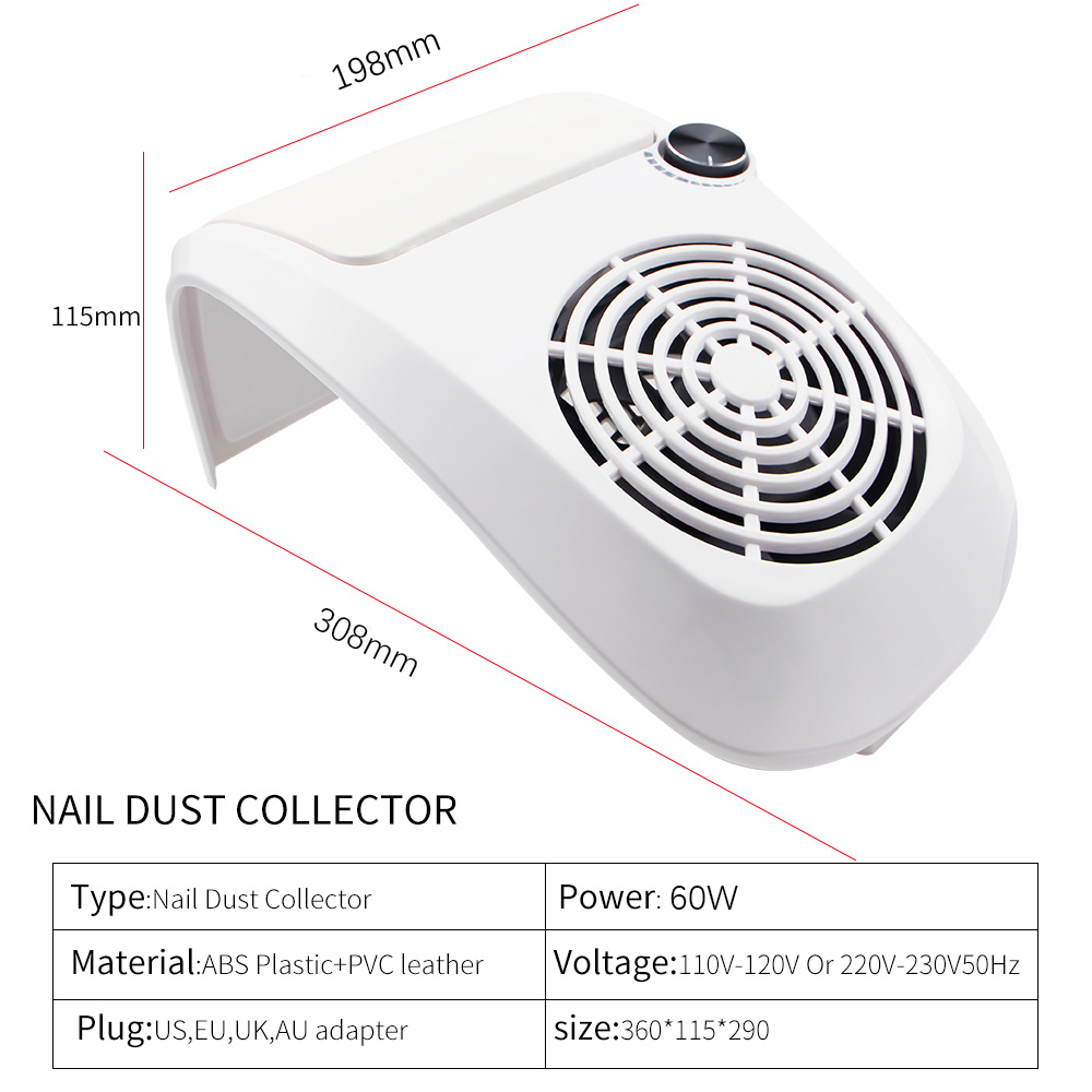 Image 3 - 60W Nail Dust Suction Collector Manicure Salon Tools Vacuum Cleaner with Powerful Fan Dust Collecting Bag Nail Art Equipment-in Nail Art Equipment from Beauty & Health