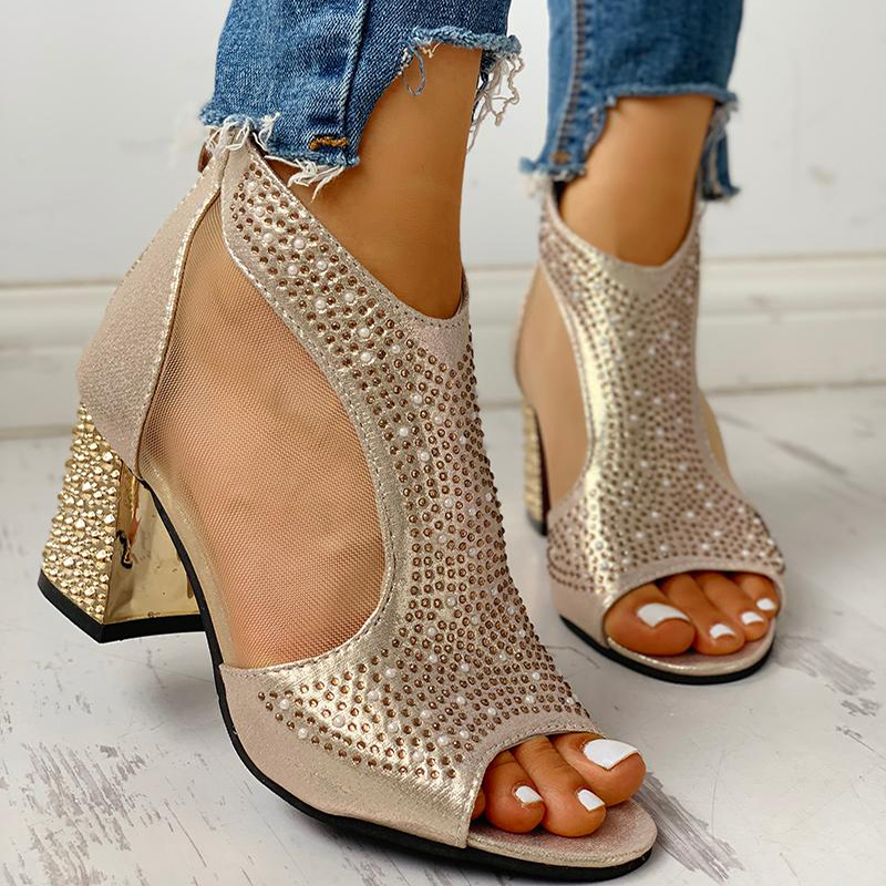 Spring Women Leather casual Sandal High Thick Heel Sexy Crystal Platform Zipper Peep Toe Slip On Lady Shoes Zapatos Mujer 5515W