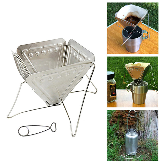 2020 New Stainless Steel Coffee Filter Outdoor Camping Folding Portable Coffee Drip Rack Foldable Coffee Dripper 2