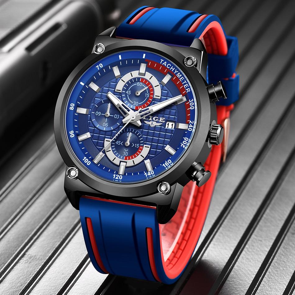 H17476ed84d274e7084a0eae392d86258G New Top Fashion Chronograph Quartz Men Watches LIGE Silicone Strap Date Wristwatch Clock Male Luminous Watch Relogio Masculino