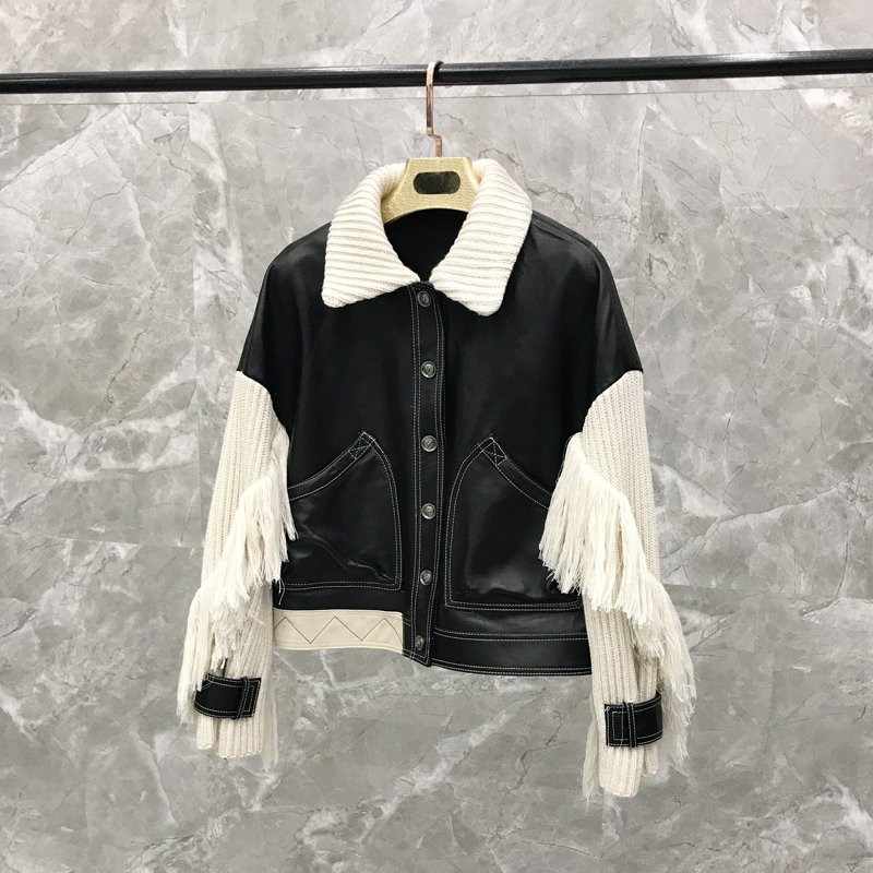 Women's Short SheepskinKnitted Fringe Sleeve Jacket Thin Shorts Leather Set Genuine Leather Jacket  Genuine Leather Jacket