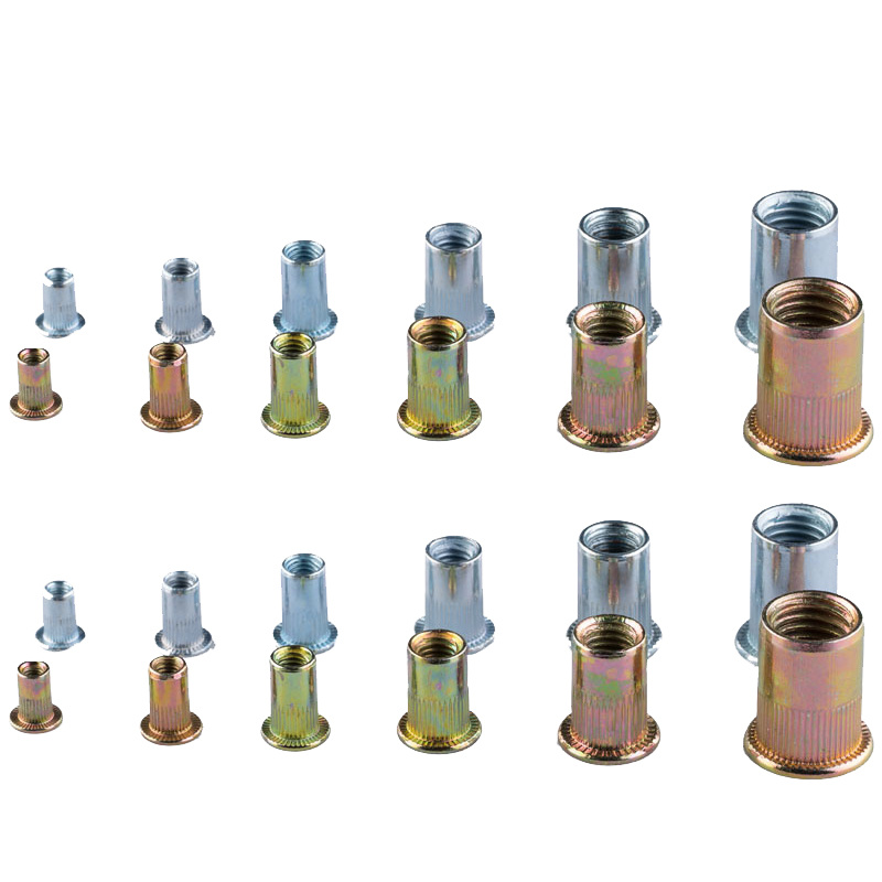 50/10 PCS Carbon Steel Flat Head Rivet Nuts Set M3 M4 M5 M6 Insert Reveting Multi Size Rivet Nuts