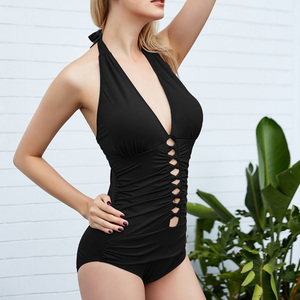 Image 4 - Riseado Sexy Plunging Swimwear 2020 Halter One Piece Swimsuits Female Hollow Out Bathing Suits Solid Bathers Ruched Beach Wear