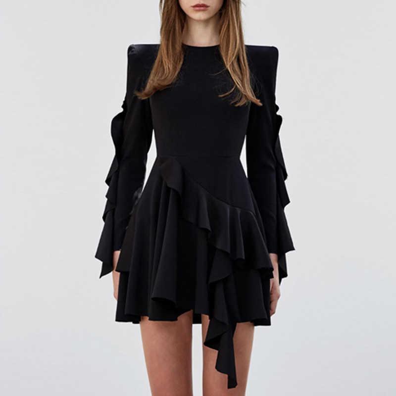 INDRESSME 2019 зима новое женское сексуальное Ассиметричное платье черное с длинным рукавом О-образным вырезом каскадные оборки вечерние Клубные платья модное Горячее предложение