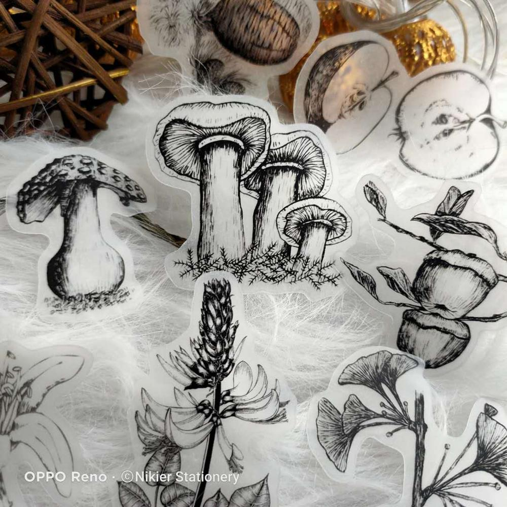 Купить с кэшбэком 18 PCS\SET Vintage Plant Mushroom Illustrated Retro Flower Stickers Sulfate Paper Ablum Diary Stationery Bullet Journal Stickers