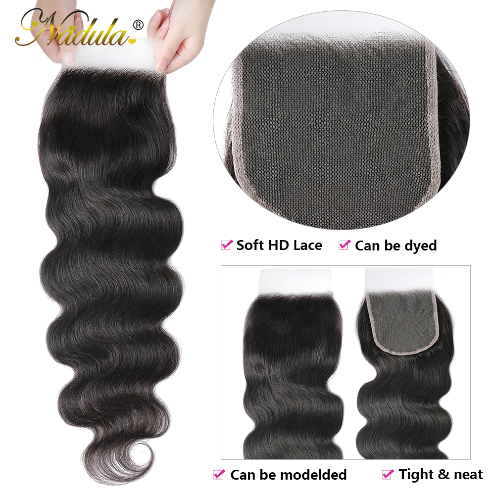 Nadula Hair 5x5 HD Lace Closure  Body Wave Hair Lace Closure 12-20INCH  Closure Pre plucked Swiss Lace 4