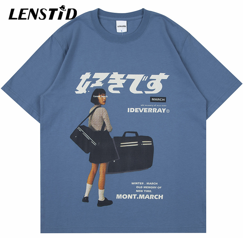 Футболка LENSTID мужская с коротким рукавом, летняя рубашка в стиле хип-хоп с принтом японской Девушки, уличная одежда в стиле Харадзюку, Повсед...