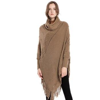 Plus Size Womens Cashmere Warm Cape Poncho Irregular Tassel Shawl Coat Women Turtleneck Capa Sueter Mujer Pullover Sweater Cloak plus size fringed zigzag poncho sweater
