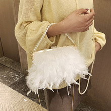 White Feather Handbag Women's Evening Clutch Bag Exquisite Pearl Chain Wedding Bridal Shoulder Bag Party Banquet Tote ZD1542
