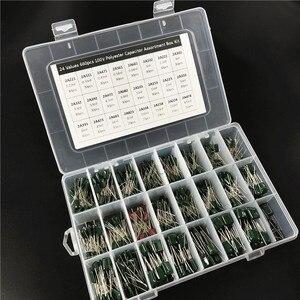 Image 2 - 24 قيمة 660 قطعة مجموعة مكثف 100 فولت 2A221J إلى 2A474J طبقة بوليستر رقيقة مكثف مجموعة متنوعة مع صندوق تخزين