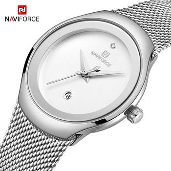 цена на NAVIFORCE Wrist Watch Women Fashion Steel Mesh Strap Waterproof Quartz Watch Luxury Analog Ladies Watches 2020 Relogio Feminino