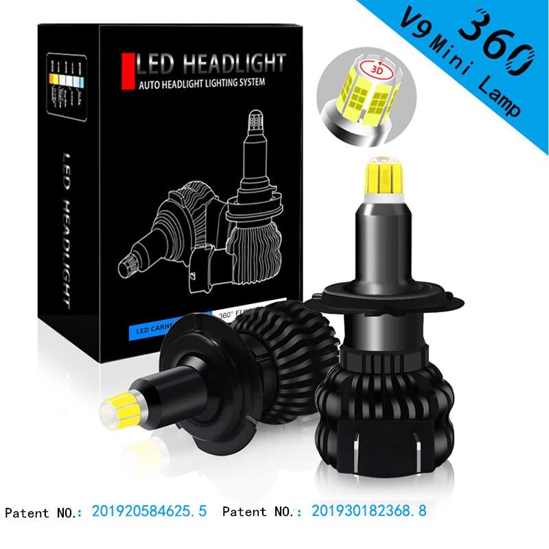 2 шт. турбо небольшие светодиодные фары H7 H8 H9 H11 D2S 9005 HB3 9006 HB4 9012 Canbus светодиодные лампочки EMC 18000LM 6000K 8 граней мини светодиодная лампа