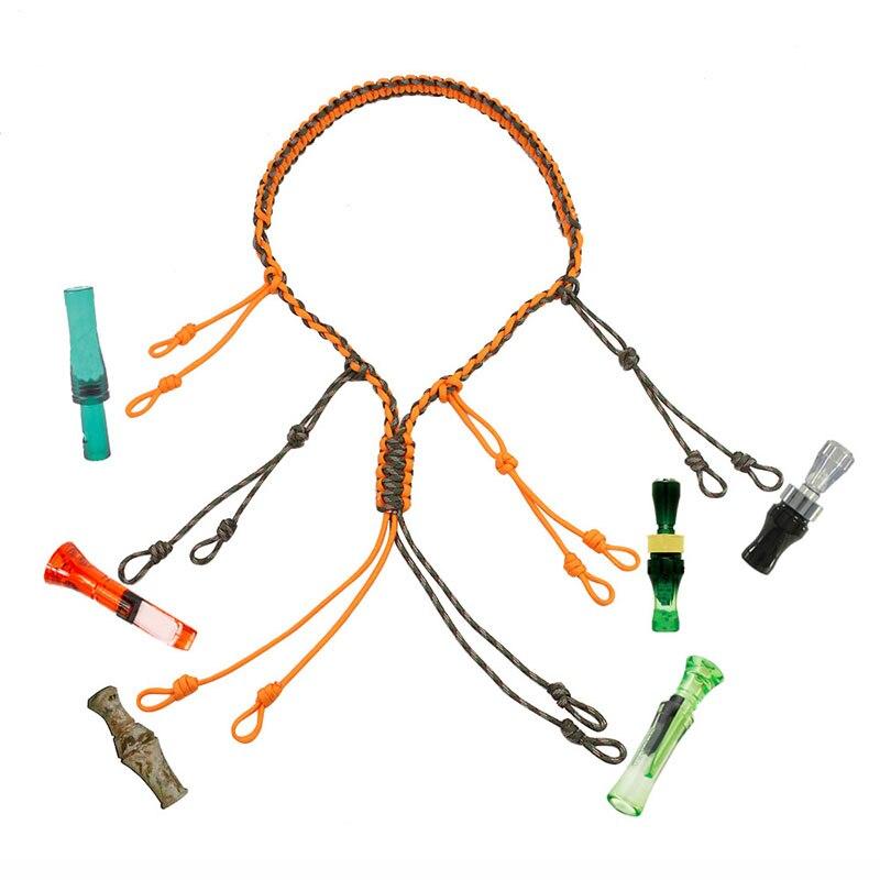 Señuelo de caza cuerda de llamada de Pato de caza Cordón de cuerda de señuelo de caza con 12 anillos de bucles ajustables