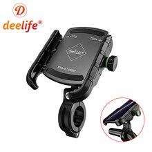 Deelife Motorbike Telefoon Houder Motorfiets Mobiele Smartphone Ondersteuning Voor Moto Motor Stuur Stand Beugel Met Qc 3.0 Charger
