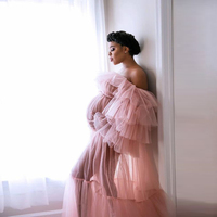 See Through Tulle Maternity Dress Off the Shoulder Ruffle Long Sleeve Sheer Tulle Women Dress for Photoshoot or Babyshower