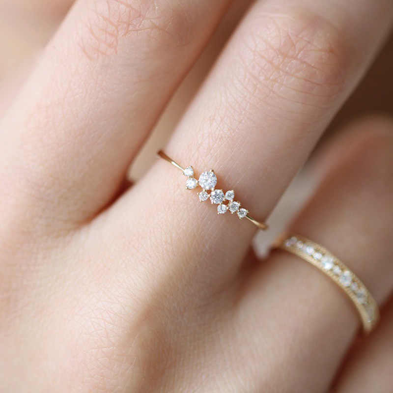 New Simple 18k Gold Diamond Ring Female Design Creative Women Engagement Ring Fashion Wild Jewelry Wholesale
