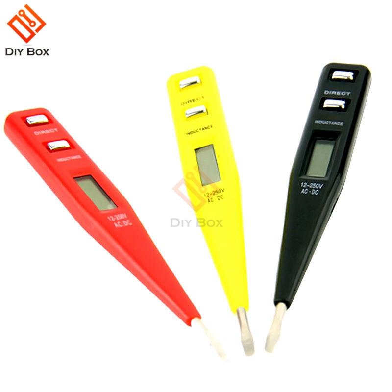 Digital Voltage Test Pen DC AC 12V-250V Non-Contact Voltage Detectors Tester Meter Tester Pen Red Black Yellow