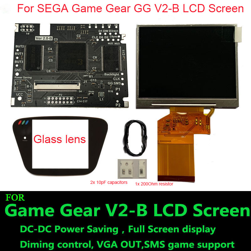 Highlight Full Display V2-B LCD Screen For SEGA Game Gear GG Adjustable Brightness Support VGA output Mod HighLit V2B LCD Kits
