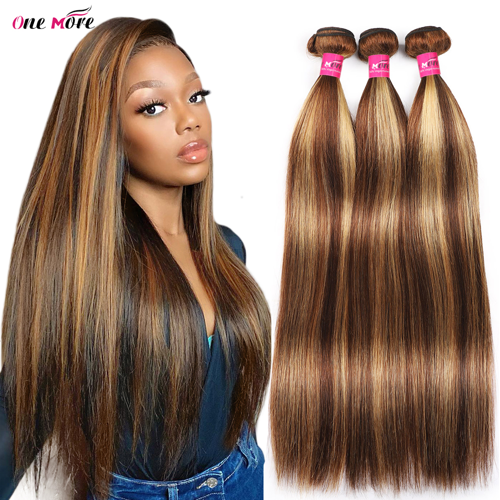 4 27 Highlight Bundles Bone Straight Bundles   Bundles 8-28 Inch  s Double Weft 1
