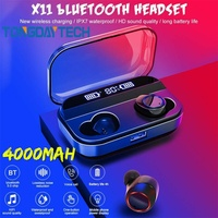 Tongdaytech X11 TWS Bluetooth 5.0 Earphone IPX7 Waterproof LCD Display 9D Wireless Touch Earphones With 4000Mah Charging Box