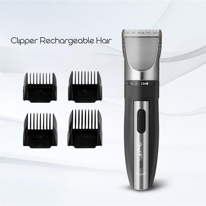 Professional Low Noise Rechargeable Haircut Machine Adjustable 0.8-2mm Electric Shave Titanium ceramic blade Hair Clipper P49 6