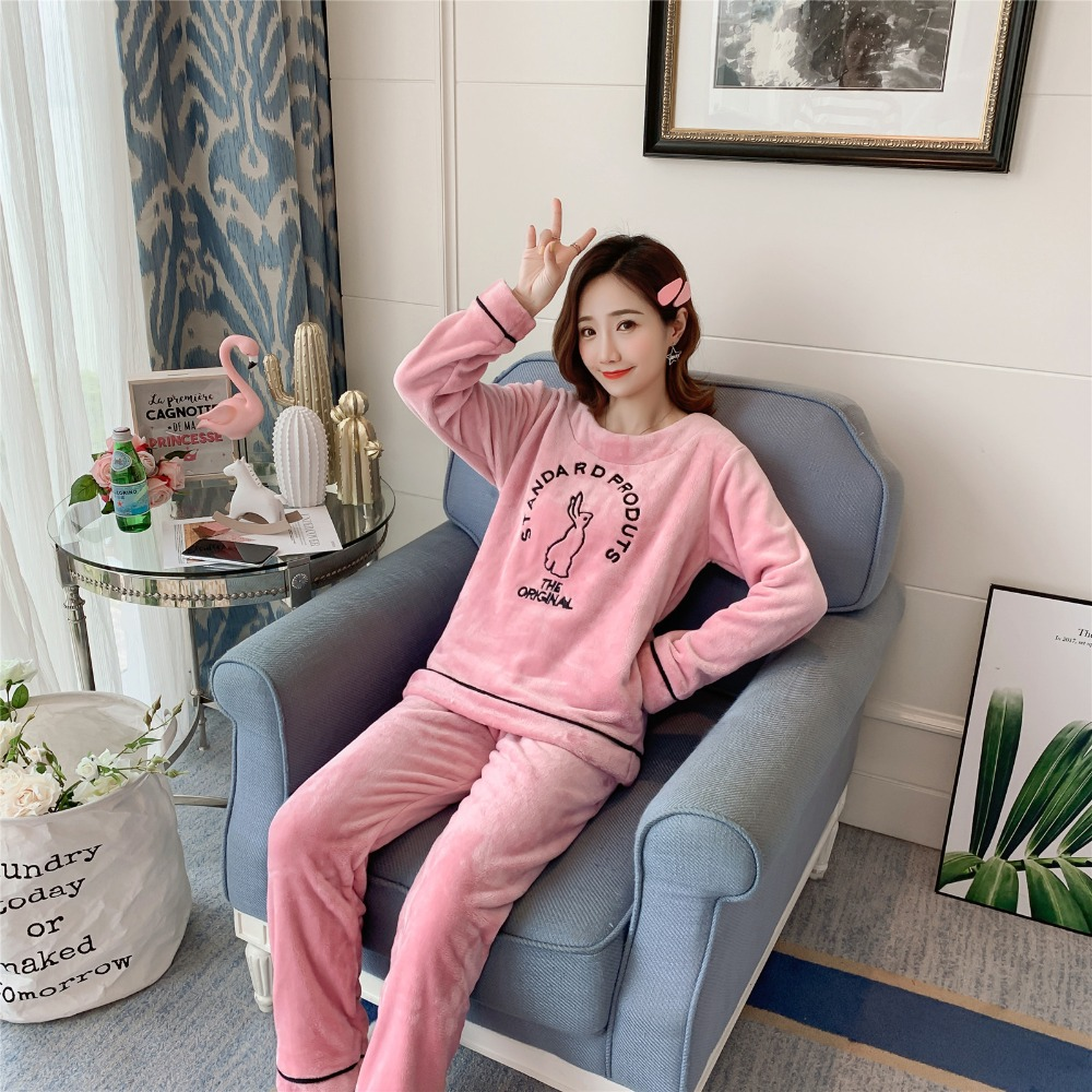 Betyline 2019 New Winter Pajamas For Women Sleepwear Warm Flannel Long Sleeves Pajamas Cute Animal Homewear Thick Homewear 156