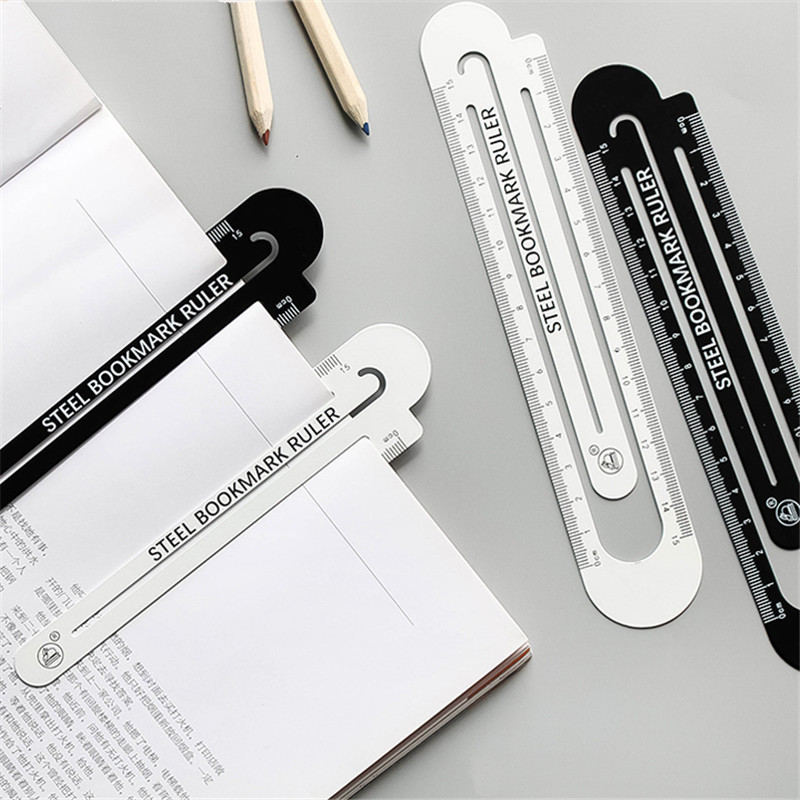 1pcs 12cm15cm High Quality Steel Ruler  Metal Ruler  Metal Bookmarks School Supplies Drawing Supplies
