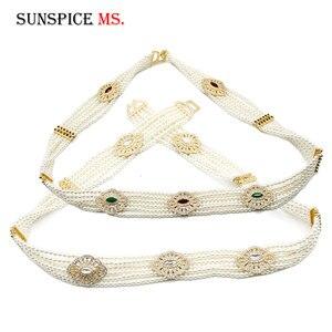 Image 5 - Luxuriant Women Bead Waist Chain Body Belly Chains Adjustable Length Jewelry India Bridal Nigeria Wedding Flower Pearl Belt 2018