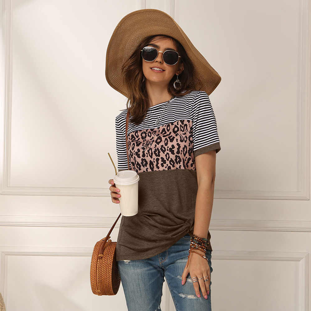 패션 여성 캐주얼 짧은 소매 여름 T-셔츠 레오파드 줄무늬 스티치 T 셔츠 탑 티 Femme 숙 녀 Tshirt 옷 소프트
