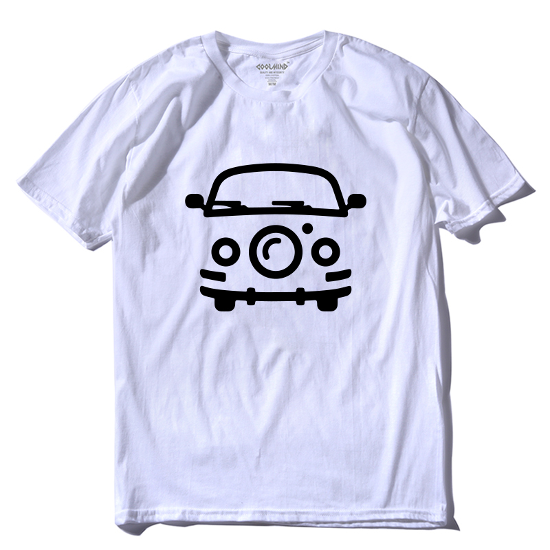 COOLMIND CA0103A 100% Cotton Summer Tee Shirts Summer Car Print Men T Shirt Casual Short Sleeve Tshirt O-neck T-shirt Male Pthd