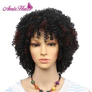 Image 3 - アミール合成ショートウィッグ黒アフロカーリーかつら女性のための自然な黒髪のかつら耐熱前髪かつら