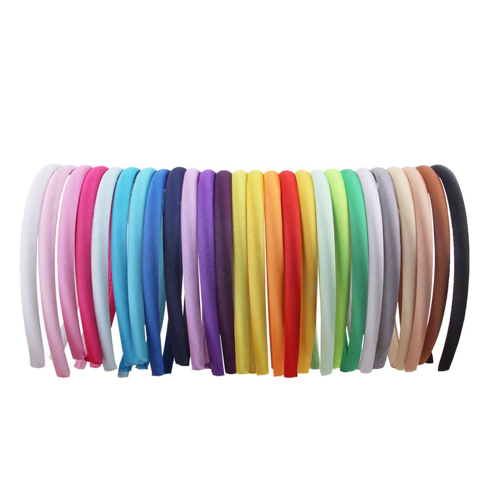 1/1.5/2cm Satin Headbands Women Girls Kids DIY Hairbands Satin Covered Resin High Elastic Tiara Hair Hoop Accessoories