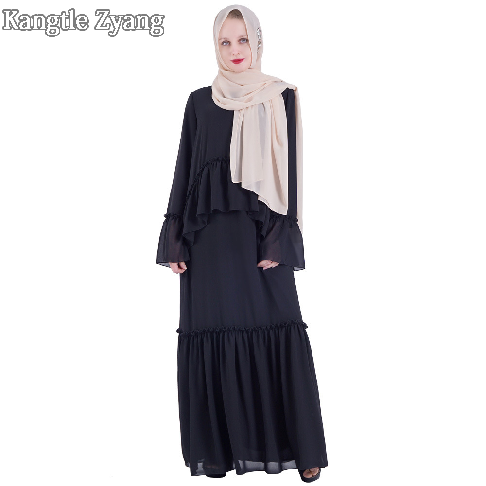Black White Women Turkish Arabic Abaya Chiffon Muslim Dress Caftan Playa Ramadan Kaftan Hijab Dresses Islamic Clothing Vestidos
