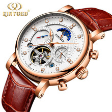 KINYUED 2019 New Design Genuine Leather Diamond Display Tourbillion Automatic Mechanical